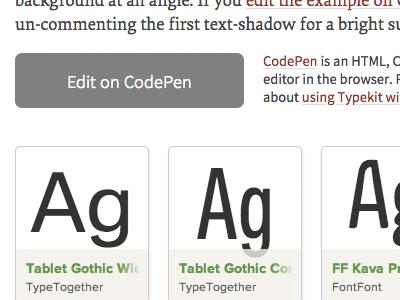 Edit on CodePen typekit