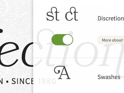 Discretion opentype features bookmania typekit practice typekit
