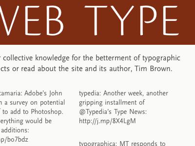 Veb Type typekit cronos scala sans red-orange
