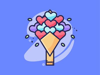 Valentine Flower 💖 filled icon dribbble icondesign cartoon flat iconography minimalist vector illustration icon valentines day love heart valentine