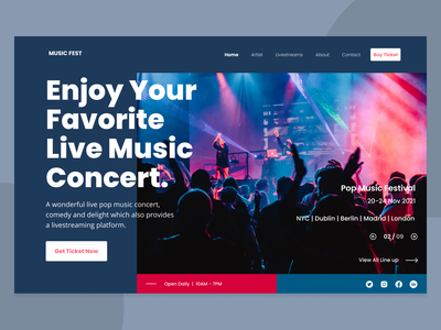 Music Festival Page - Explorations music ui  ux header bold typography minimalist daily ui screen ui designs landing page homepage web design website music festival ui design ui ux