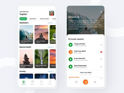 Meditation App mental health minimalist uidesign exploration healthy design ui ux creative concept mobile app meditation