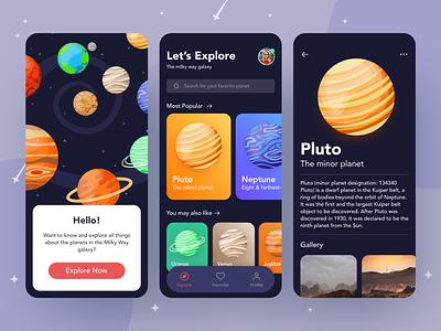 Planet Mobile App planets ui concept dark mode exploration ui design ui ux concept ios app design mobile app galaxy planet app