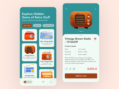 Retro App Mobile Design Concept illustration ui concept ios app design retro app uiux collector exploration mobile app e commerce app ui design vintage retro