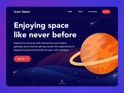 Outer Space Landing Page space web screen homepage ui ux design ui ux mars minimalist illustration space web design outerspace landingpage design