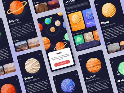 Planet App Concept Full Version galaxy mobile app illustration icon design ui ux ui design exploration dark mode ui concept planets