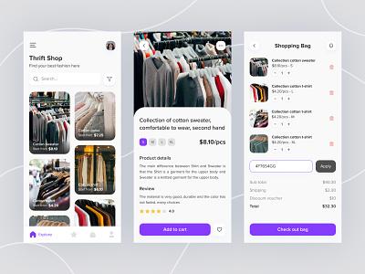 Thrift Shop App Concept discount clothing retail second hand vintage shop app ux daily ui minimalist exploration ui design mobile concept ui ux fashion thrift shop
