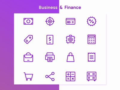 Business & FInance Icon iconography website icon app mobile icon set icon pack shop finance business icon design icon