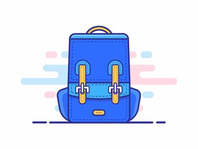 School Bag Icon minimal flat vector iconography illustration blues linear bag schools design icon