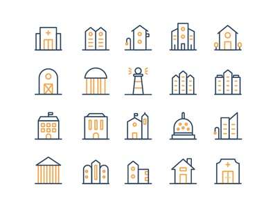 Building Icon Set real estate uiux buidling simple building duotone minimalist outline iconography icon sets icon app