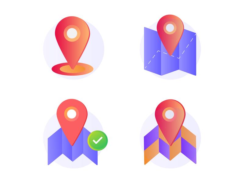 Maps Gradient Icon dribbble location gradient vector iconography design illustration icon maps