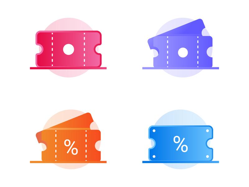 Ticket Variations dribbble flat vouchers gradient minimalist vector icondesign iconography icon illustration voucher ticket