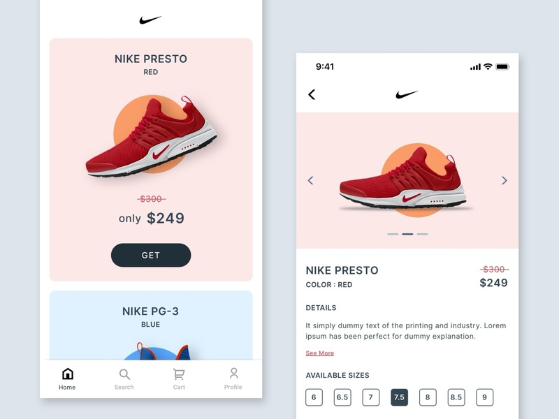 #Exploration | Nike App Design Challenge iphone e-commerce app ios interface preview page ui ux ui design mobile app sneakers shoes nike product page add to cart