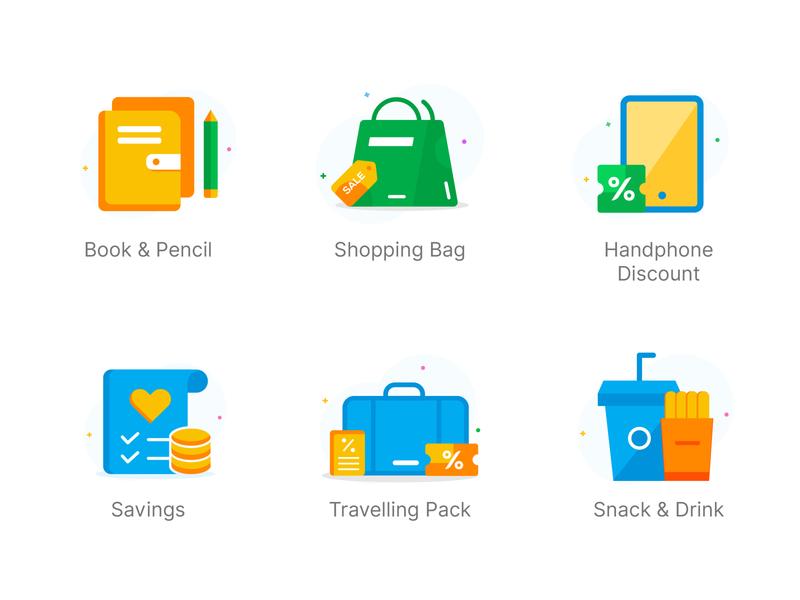 Icon Variations minimalist ux vector design illustration icon drink shoping travelling savings pencil books handphone flat icon