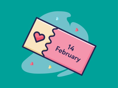 Love Ticket Icon valentine object ticket style web icondesign flat iconography minimalist vector design illustration icon love