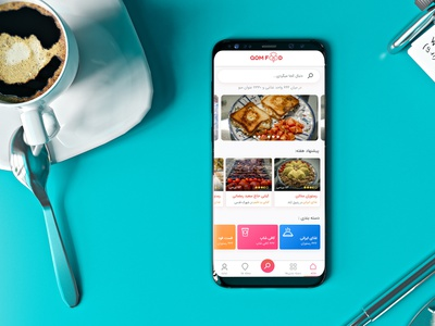 ْQom Food Delivery resturant food design andriod mobile ui persian app figma