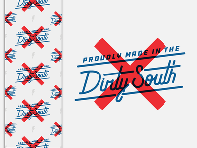 Dirty South Tape custom script stickermule lightning lightning bolt ddc font alabama flag south blue red tape packaging tape dirty south