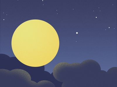 Moon and cloud in the sky illustrator photoshop design graphic design illustration