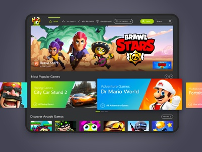 Gaming Platform UI minimal game flat ui ux app design