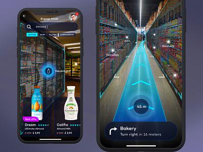 Shopping Mall AR Mobile App minimal ux ui flat ios mobile app design