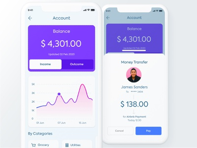 Account and Send Money for Banking App pay ios interface minimal mobile ux ui fintech finance design clean banking app