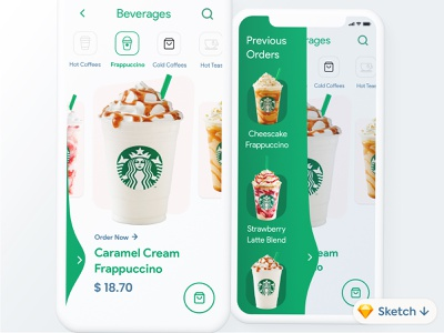 Coffee Order App #Exploration #Freebies #Sketch iphone interface flat ios minimal ux ui design app