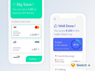 Bankly Budget Management #Sketch #Freebie finance interface app ios flat minimal ux ui design mobile
