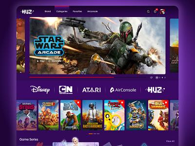 Telenor Huz Gaming Platform stream video games app web interface design ux ui