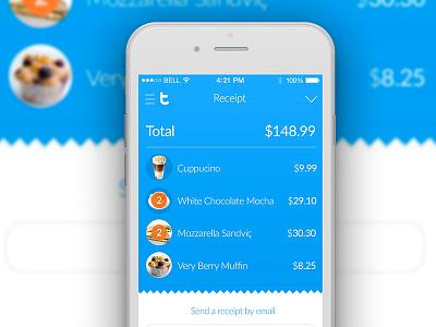Tivlo payment system - online receipt  ux ui blue minimal design finance mobile iphone ios app receipt payment