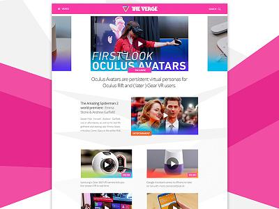 The Verge.com concept - Videos ux ui design web website mobile minimal flat