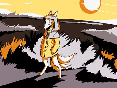 Yellow fox renard digital drawing fox animal illustration