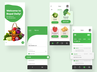 Vegetable delivery app design ux ui logo branding adobe illustrator cc adobe xd adobe photoshop logo design app design vector ux design ui design