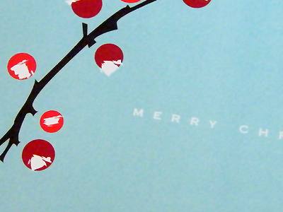Merry Christmas Card berries branches holiday christmas card