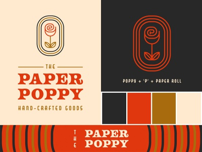 Paper Poppy Branding 01 badge flower logo flower color palette icon modern logo simple logo branding logo typography