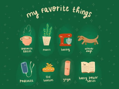 my favorite things stars texture green podcast baking dog plants harry potter the beatles yoga coffee procreateapp ipad procreate icon design hand lettering illustration typography