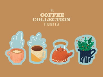 Coffee Collection Stickers sticker design lattee vase plants tea pot kettle coffee mug coffee texture lettering procreateapp procreate sticker badge icon illustration