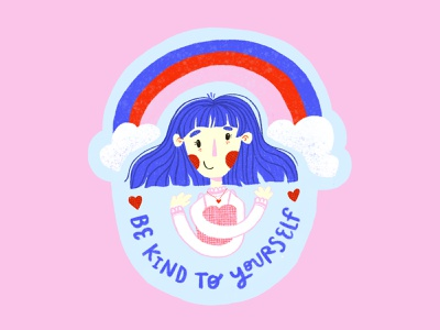 BE KIND   Sticker character hair girl clouds rainbow motivational inspirational self love procreate flat texture hand lettering illustration