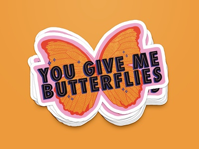 you give me butterflies 🦋 procreateapp procreate orange retro sparkle kacey musgraves love butterflies butterfly etsy etsy shop sticker icon texture hand lettering typography illustration