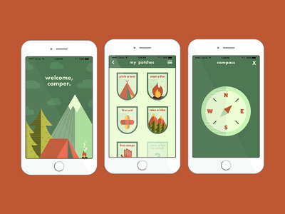 App Screens flat illustration app design adventure outdoors mobile camping flat ux ui icon app