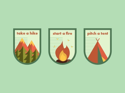 Patches flat icon flat illustration emblem adventure outdoors camping flat badge patches patch icon