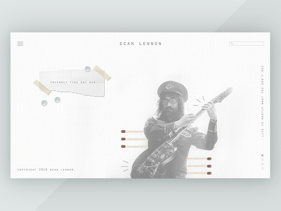 Sean Lennon Landing Page music web design landing page typography type overlap simple modern website web
