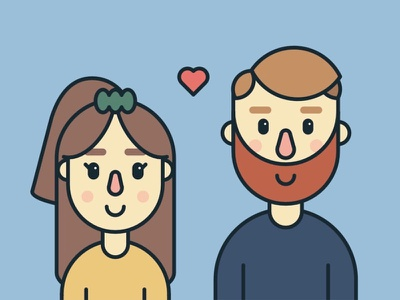 Couple Illustration beard hair woman man heart people love couple simple illustration colorful modern flat illustration
