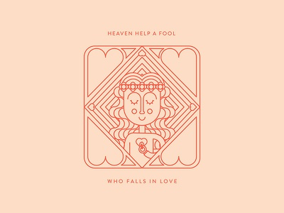 Ophelia modern matches woman character vector flowers girl love heart red pink simple shapes flat design monoline illustration