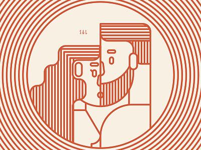 S + L minimalist simple geometric badge beard hair orange kiss man girl love couple illustration monoline modern