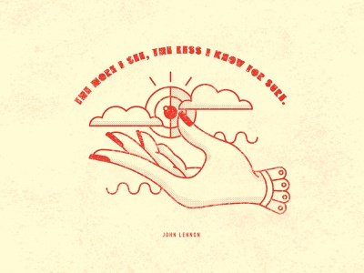 The More I See, The Less I Know For Sure type vintage flat lineart vector simple cloud hand eye texture design typography modern illustraion