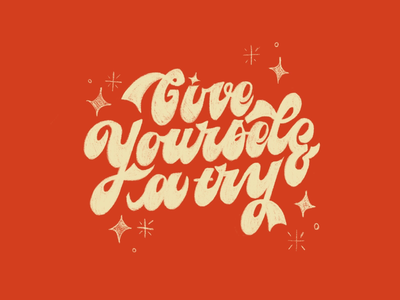 Give yourself a try ✨ retro stars texture sparkles 70s vintage typography procreate illustration hand lettering lettering