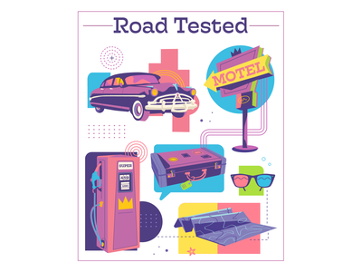 Road Tested brand graphic motel sign automobile roadtrip map