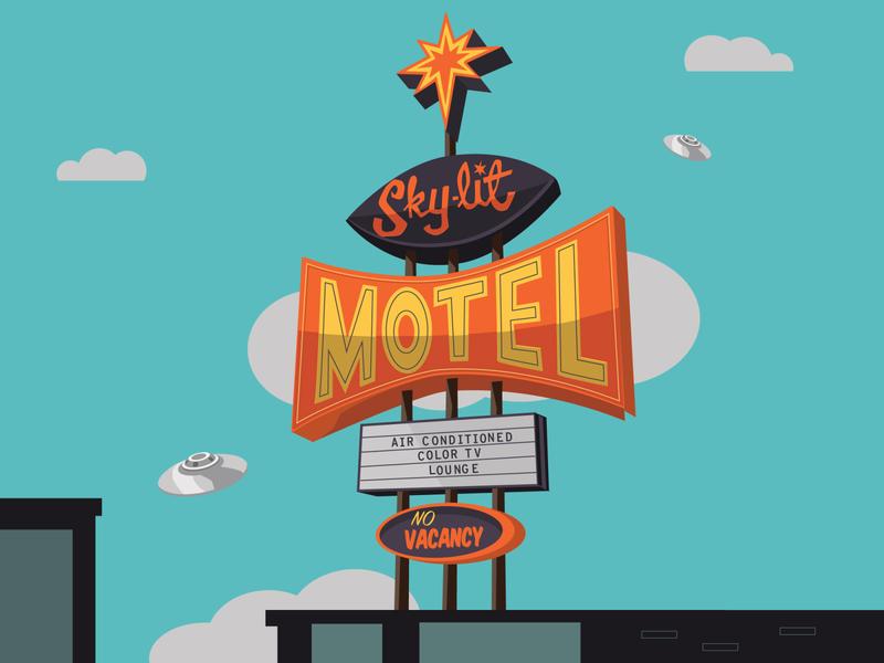 Sky-lit Motel old sign summer party ufo motel