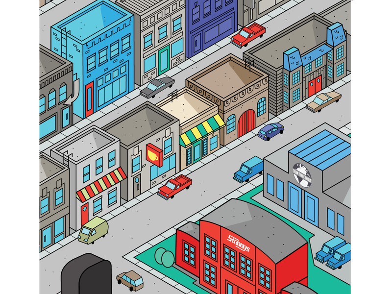 Another View Iso City (WIP) flat illustration city isometric art