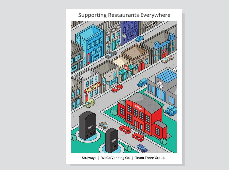 Food Fanatics Magazine Advert Concept service industry food industry cars isometric art advertising restaurant